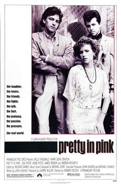 """Pretty in Pink is a 1986 American romantic comedy-drama film about love and social cliques in 1980s American high schools. It is one of John Hughes' films starring Molly Ringwald, and is commonly identified as a """"Brat Pack"""" film. The film was directed by Howard Deutch, produced by Lauren Shuler Donner and written by John Hughes, who also served as co-executive producer. It has become a cult favorite. The film was named after a 1980 single by the band The Psychedelic Furs."""