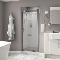 Delta Lyndall 33 in. x 64-3/4 in. Semi-Frameless Pivot Shower Door in Chrome with Droplet Glass