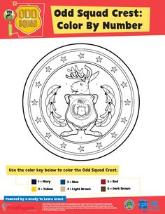 Odd Squad Crest: Color By Number - Use the color key to color the Odd Squad…