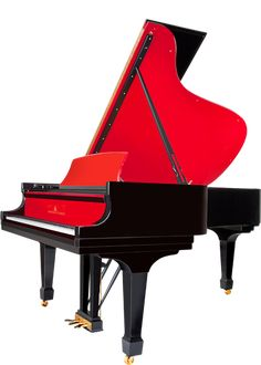Red Pops -  Vibrant color accents breathe character into an ebony grand piano in a rainbow spectrum of choices.