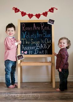 Our Valentines pregnancy announcement sibling photography