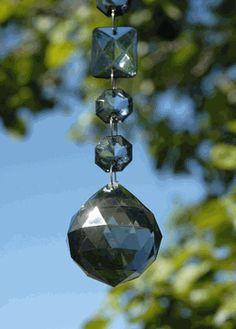 "Smokey Crystal Garlands with 1.5"" Crystal Ball 17-1/2"" Acrylic"