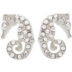 """3/8 x 3/4"""" Sea Horse Stud Earrings with Rhinestones in Silver Tone with Matte finish"""