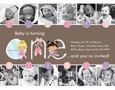 Ballerina Timeline First Birthday by HelloBabyInvitations on Etsy