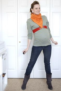 Orange & Red maternity outfit (I made a point to not wear any maternity clothes through my entire pregnancy, this is my documentation of those outfits)