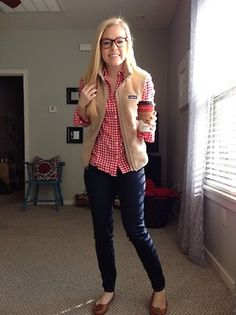 Patagonia vest & flannel with tory burch flats // Arkansas Style Blogger