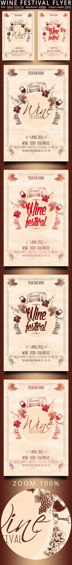 Wine Festival Vintage Flyer Template PSD