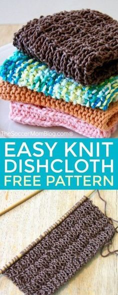 Create something beautiful AND useful with this easy knitted dishcloth! (Free pattern included) - This is simple, classic knit pattern perfect for both beginning and experienced knitters. #knitting #crafts via @soccermomblog Easy Knitting Patterns, Knit Dishcloth Patterns, Diy Easy Knitting Projects, Knitted Dishcloths, Bead Patterns, Knitting For Beginners Projects, Knitting Ideas, Beginning Knitting Projects, Knitting Yarn