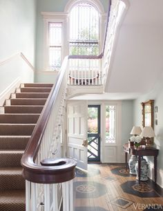 Historic Virgina home restored by Allan Greenberg with interiors designed by Amelia Handegan. #staircase #flooring #foyer