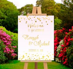 "Printable Welcome Wedding Sign Digital File- Gold Foil on Pink Ombre~ ""Gilded Blush"" Gold Confetti, Glam Wedding, Customizable by FoxyPrintables on Etsy"