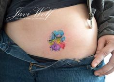 HAVE TO GET THIS!!!!!! Watercolor star tattooed and designed by Javi Wolf