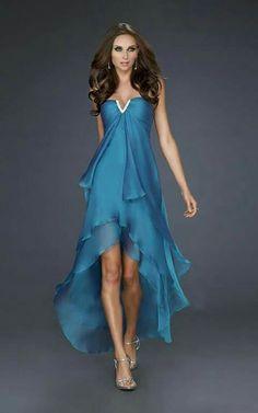 A-Line V-Neck Chiffon High Low Length Long Prom Dress - HomeComing Dresses - Homecoming Elegant Dresses, Pretty Dresses, Sexy Dresses, Beautiful Dresses, Fashion Dresses, Formal Dresses, Dresses 2013, Prom Party Dresses, Homecoming Dresses