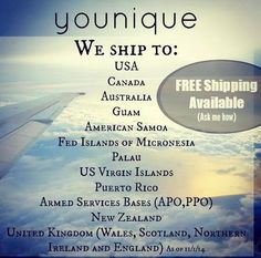 Younique's Selling & Shipping Countries