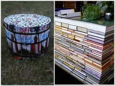 Check out these home decorating ideas for book lovers, including this creative use of rolled-up magazines!
