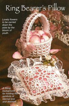 X738 Crochet PATTERN ONLY Ring Bearer's Pillow & by BeadedBundles, $2.95