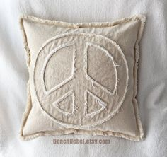 "Peace sign pillow cover in natural and white distressed denim 16"" boho pillow cover by Beachrebel"