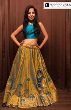 Cream And Sky Blue Metti Semistitched Lehenga Choli with a long top Indian Lehenga, Indian Gowns, Indian Attire, Indian Outfits, Lehenga Choli, Indian Wear, Blue Lehenga, Choli Designs, Lehenga Designs