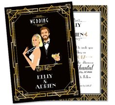 Gatsby roaring twenties custom wedding invitation and save the date card announcement - old times retro art deco Roaring Twenties style 20's - vintage black and gold - caricature avatar - personalized portrait from your photos