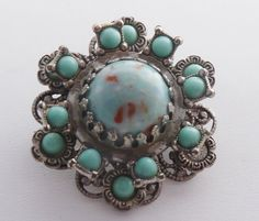 Vintage Domed Filigree Pin Brooch Turquoise by PattycatsTreasures, $15.00