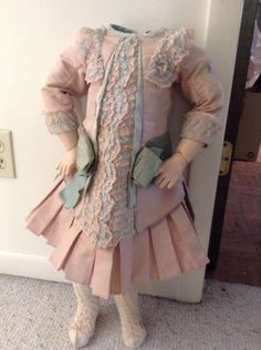 ~ Fabulous! Antique 1890 s Era Child Doll French Style Silk Taffetta Dress ~