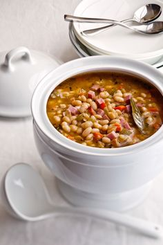 Navy Bean Soup with Ham 1 pound dried navy beans 1 tablespoon olive ...