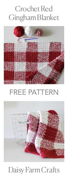 Afghan Patterns FREE PATTERN - Crochet Red Gingham Blanket - I don't know why but I love gingham - I am in love again with another crochet gingham blanket! I used a different technique to achieve this crochet red gingham blanket since I've had a hard time Crochet Quilt, Afghan Crochet Patterns, Knit Or Crochet, Crochet Crafts, Crochet Stitches, Crochet Projects, Free Crochet, Knitting Patterns, Crochet Afghans
