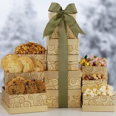 Gourmet Gift Assortment Holiday Theme Premium Gift Tower | Chocolates Cookies and More | Christmas Gift Idea