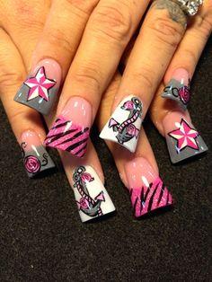Pink Roses And Anchors by - Nail Art Gallery by Nails Magazine Fabulous Nails, Gorgeous Nails, Pretty Nails, Crazy Nails, Fancy Nails, Acrylic Nail Designs, Nail Art Designs, Nails Design, Acrylic Nails