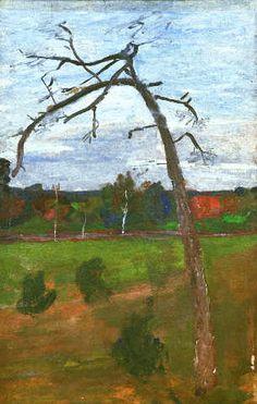 Kahler Baum vor Landschaft. Künstler: Paula Modersohn-Becker