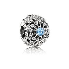 PANDORA | Disney openwork snowflake silver charm with fancy light blue and clear cubic zirconia
