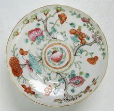 "Chinese Antique Famille Rose Porcelain Stem Plate; Size: D: 5-5/8"" | Sold US$200"