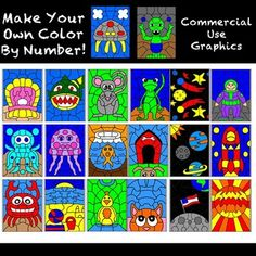 Make Your Own Color By Number Clipart-Jumbo Set-20 pages