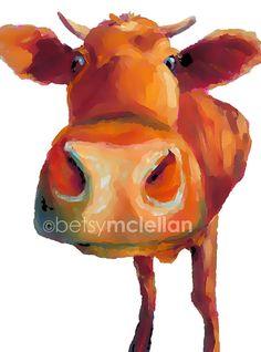 Cow 2 Nursery Art Print by betsymclellanstudio