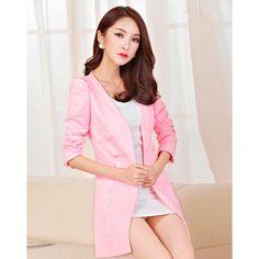 Buy Sweet Pure Color V Collar Long Sleeve Blazers Pink China brand wholesale ($19.50) http://www.clubwholesale.net/women/blazers