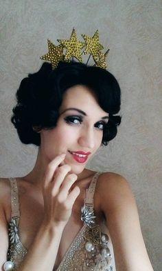 Stardust - tiara headdress, wedding, burlesque, circus. Gold on black.