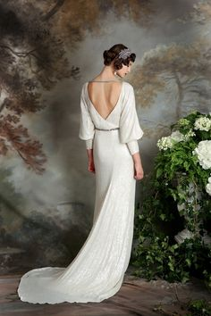Eliza Jane Howell - beaded and embellished Art Deco inspired dress with Sweep Train.