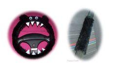 Fluffy Black Monster Car Steering wheel cover & fuzzy black seatbelt pad set