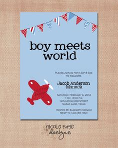 Cute phrasing for boy baby shower. Boy Meets World Invitation set of by NicolePageDesigns, $35.00