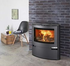 Aduro 15 DEFRA Wood Burning Stove, Woodburning Stoves, by Aduro Wood Burning Stoves, Aduro 15 Wood Burning Stove Aduro wood stove 15 is a convection stove that has a very refined and exclusive design. The stove is equipped with an effective clean. Brick Fireplace Makeover, Stove Fireplace, Fireplace Remodel, Modern Fireplace, Wood Burning Logs, Hearth Tiles, Mid-century Modern, Modern Design, Multi Fuel Stove