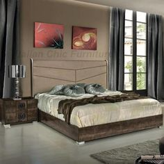 The Athen Bedroom Set features a beige eco-leather upholstered headboard by VIG Furniture Furniture Direct, Online Furniture, Italian Bedroom Sets, Bedroom Furniture, Bedroom Decor, Coastal Master Bedroom, Nautical Bedding, Interior Styling, Interior Design