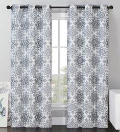 Vcny Sylvia Blackout Window Curtains Grommet Thermal 2 Panel Set Grey Medallion 84 Length