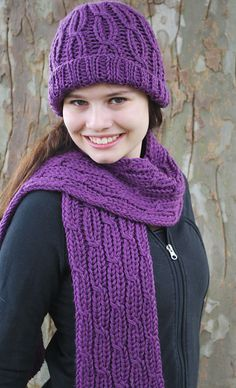Ravelry: Loom Knit Cabled Hat and Scarf pattern by Faith Schmidt