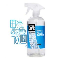 Better Life Glass Cleaner This natural window and glass cleaner kicks fingerprints, greasy smudges, rain spots, and dirt to the curb without streaks or stinging scents. After all, a clear view goes better with a breath of fresh air. Alcohol, Natural Cleaning Products, Natural Products, Cleaning Kit, Kitchen Cleaning, Laundry Detergent, Packaging Design Inspiration, Design Ideas, Bottle Design