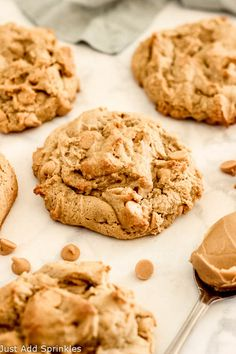 Bakery Style Peanut Butter Cookies #justaddsprinkles #cookies #peanutbutter #peanutbuttermorsels #thick #bakerystyle #peanutbuttercookies #fromscratch #homemade