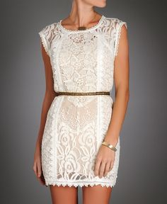 Champagne & Strawberries Lace Sheath Dress w/ Bead Belt