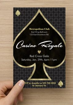 Set the tone right from the start with a fun, sexy invite. You can't go wrong with black and gold. Spring for the foil accents if you can. Find everything you need to plan your own James Bond Casino Royale party. Casino Night Party, Casino Theme Parties, Party Themes, Party Ideas, Vegas Party, Fun Ideas, Vegas Theme, James Bond Party, James Bond Theme