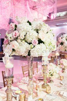 Featured Photographer: Perez Photography; Wedding reception centerpiece idea.