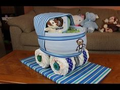 Boys Baby Carriage Diaper Cake...making this for my nephews new baby So cute!!