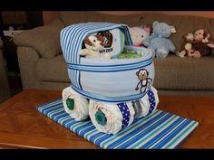 Boys Baby Carriage Diaper Cake - YouTube