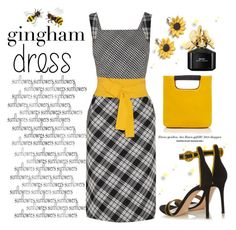 """Gingham Dress"" by conch-lady ❤ liked on Polyvore featuring Oscar de la Renta, Gianvito Rossi, Simon Miller, Summer and Silver, Marc Jacobs, sunflower and ginghamdress"